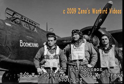 "Photo of three crewmen with their Douglas A-20 Havoc ""Boomerang, 416th Bomb group from the video "" A-20 Havocs in Color with 416th Bomb Group Scrapbook"""""