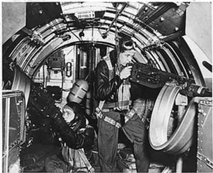 Photo of B-17 waiste gunner at the ready c www.zenoswarbirdvideos.com