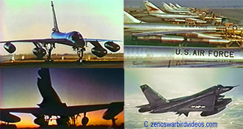 "Photos of Convair B-58 ""Hustler"" Supersonic bombers on the ground and in the air. c 2010 www.zenoswarbirdvideos.com"