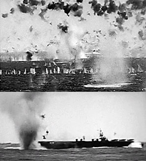 Photos of Kamikaze attacks off Okinawa, 1945.