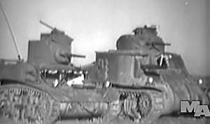 "Photo of M5 ""Stuart"" light and M3 ""Lee"" medium tanks taken from the film Operating Meiman and Light Tanks."""