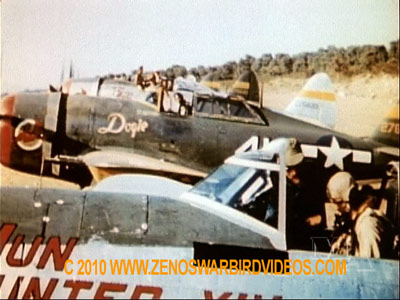 "Photo of P-47 Thunderbolts,65th Fighter Squadron, readying for take-off taken from the film ""Thunderbolt!"""