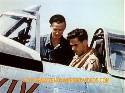 "Photo of P-47 Thunderbolt pilot Lt. Colonel ""Gil"" Wyman, CO, 65th FS, in ""Hun Hunter XIV"" taken from the film ""Thunderbolt!"""