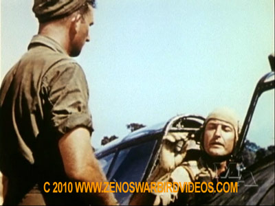 "Photo of P-47 Thunderbolt pilot handing his cigar to his cew chief for safe keeping taken from the film ""Thunderbolt!"""