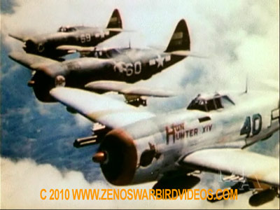 "P-47 Thunderbolts from the 65th fighter Squadron high over Italy during World War 2 taken from the classic video ""Thunderbolt"""